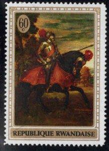 RWANDA Scott 328 Knight on  Horse  painting stamp