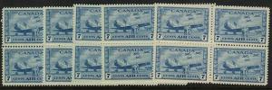 Canada - 1943 7c War Air 20 Mint Mostly Blocks #C8 F-VF-NH