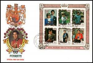 Penrhyn Island 180a Royal Wedding Souvenir Sheet U/A FDC
