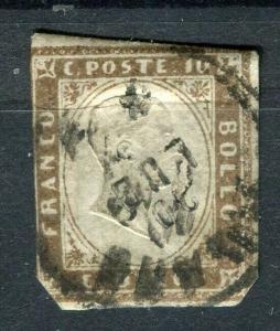 ITALY; SARDINIA 1855 Scarce dark bronze brown Shade of imperf 10c. used value