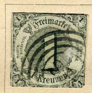 GERMANY THURN & TAXIS; 1852 early classic Imperf issue used 1k. value