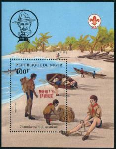 Niger 673,MNH.Michel 924 Bl.43A. Scouting Year 1982/MOPHILA-1986 HAMBOURG.