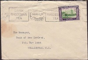 SOUTHERN RHODESIA 1941 cover to New Zealand - DRINK TEA slogan.............35182