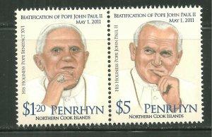 Penrhyn MNH 504 pair Pope John Paul II SCV 10.50