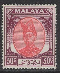 MALAYA TRENGGANU SG81 1955 30c SCARLET & PURPLE MTD MINT