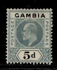 GAMBIA EDVII SG63, 5d grey & black, LH MINT. Cat £20.