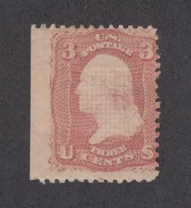 US Sc 88 MLH. 1868 3c rose Washington w/ E grill, Cert.
