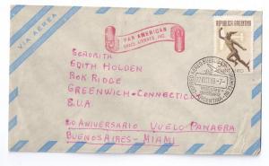 Argentina Airmail Cover 1949 20th Anniv Panagra flight Bueno