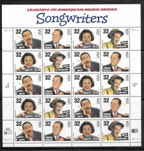 STAMP STATION PERTH-USA # 3100-3103 MS Songwriters Plate P111111 Various Positio