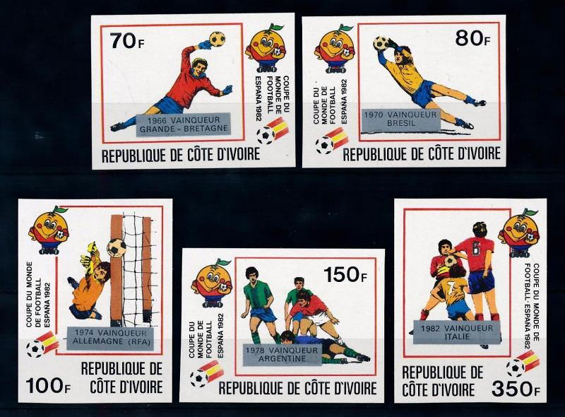 [69404] Ivory Coast 1982 World Cup Football OVP Silver Imperf. MNH