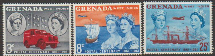 Grenada  QE II  SG 208 - 210  lightly mounted mint   Stamp Centenary