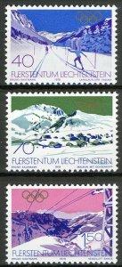 Liechtenstein 1979, Olypics Lake Placid 1980 set VF MNH, Mi 735-37 cat 4,4€