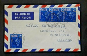 1969 Valetta Malta to Reykjavík Iceland Airmail Cover