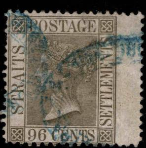 Straits Settlements Scott 18 Used CC wmk, collectors mark on back CV$55
