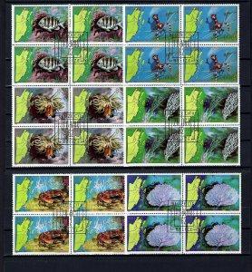 BELIZE - 1982 - FISH - CRAB ++ MARINE LIFE - 6 X CTO NH BLOCKS!