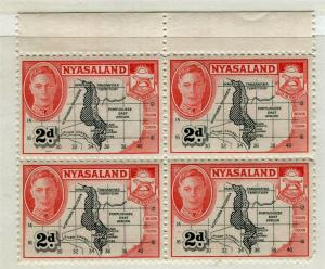 NYASALAND; 1938 early GVI issue fine Mint hinged Margin 2d. Block