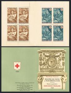 France B423-B424a booklet,MNH.Michel 1692-1693 MH. Red Cross-1969.N.Mignard.