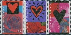 Australia 1995 SG1507-1509 St Valentines Day Roses strip MNH