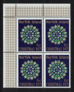 Norfolk Christmas 1v issue 1971 Top Left Corner Block of 4 SG#125 SC#148