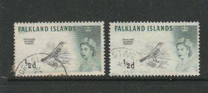 Falkland islands 1960 Bird Defs 1/2d both Printings FU SG 193 & 193a