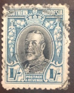 SOUTHERN  RHODESIA 1935 1/- SG23a SCARCE PERF 11.5 FINE USED