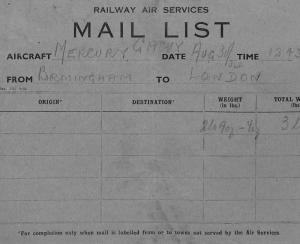 BG19 GB AVIATION 1934 RAILWAY AIR SERVICES Original*Mail List* BIRMINGHAM Flight