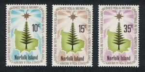 Norfolk Christmas 3v issue 1975 SG#165-167 SC#187-189