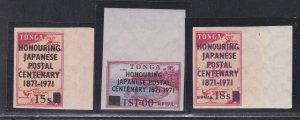 Tonga # 273, C90-91, Honoring Japanese Postal Service Centenary, NH, 1/2 Cat.