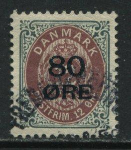 Denmark 1915 80 ore overprinted on 12 ore used