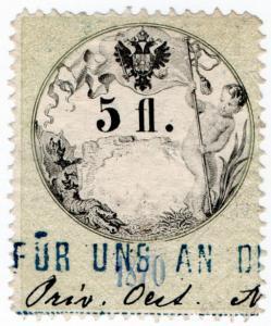 (I.B) Austria/Hungary Revenue : Stempelmarke 5fl
