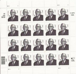US Stamp - 2000 33c Sen. Claude Pepper - 20 Stamp Sheet - Scott #3426