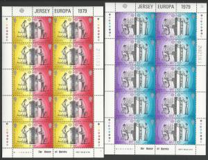 Great Britain-Jersey # 203a,205a Europa perf 14  SHEET (2) Mint NH
