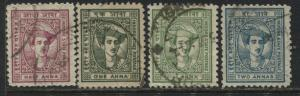 India Indore State 1941 1/2 anna to 2 annas used