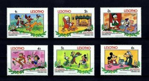 LESOTHO - 1983 - DISNEY - MICKEY - GOOFY - PLUTO + OLD CHRISTMAS - 6 X MINT SET!