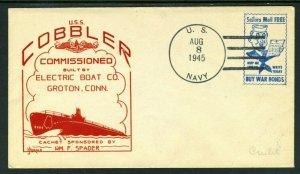 USS COBBLER Submarine Cachet - 1945 with NAVY FREE STAMP!!!