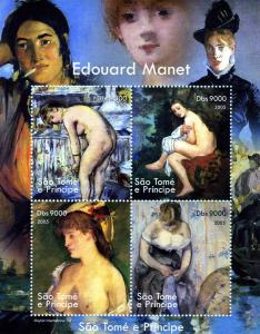 Sao Tome & Principe 2005 EDOUARD MANET Nudes Paintings Sheet Perforated Mint (NH