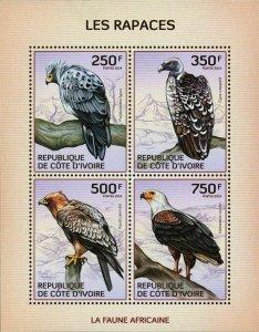 Raptors Stamp Bird Eagle Vulture Polyboroides Typus Gyps Rueppellii S/S MNH