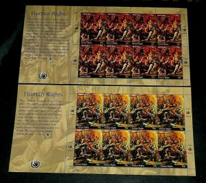 U.N. NEW YORK #871-872, 2004, HUMAN RIGHTS PANES OF 8, MNH, NICE! LQQK!
