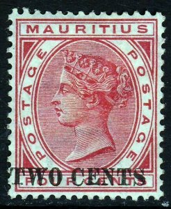 MAURITIUS QV 1891 TWO CENTS Surcharge on 4c. Carmine SG 118 MINT