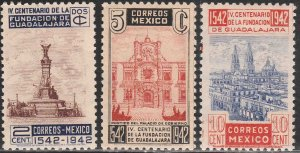 MEXICO 771-773, 400th Anniv of Guadalajara. MINT & UNUSED. VF.