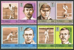 Tuvalu 259-262 ab pairs,MNH.Michel 256-263. Cricket players in auction,1984.