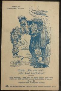 1915 Feldpost Germany Patriotic Postcard Cover Who Said Rats ? Evening Sun WWI