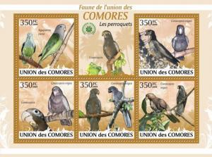 COMORES 2009 SHEET PERROQUETS PARROTS PAPAGAIOS LOROS BIRDS OISEAUX AVES cm9412a