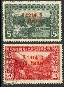 BOSNIA AND HERZEGOVINA 1914 OPEN 4 SEMI POSTAL Set Sc B1b-B2b VFU