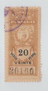 Paraguay revenue fiscal stamp 4-14- Better item 20 pesos