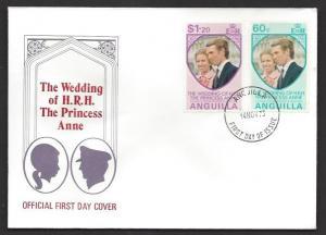 ANGUILLA 1973 Princess Anne Wedding Set on Cachet FDC Sc 179-180