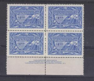 CANADA # 302 VF-MNH PLATE BLOCK OF 4 $1 FISHES CAT VALUE $300