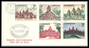 Cambodia Scott 152-56 Temples of Angkor Issue  1966 FDC GORGEOUS