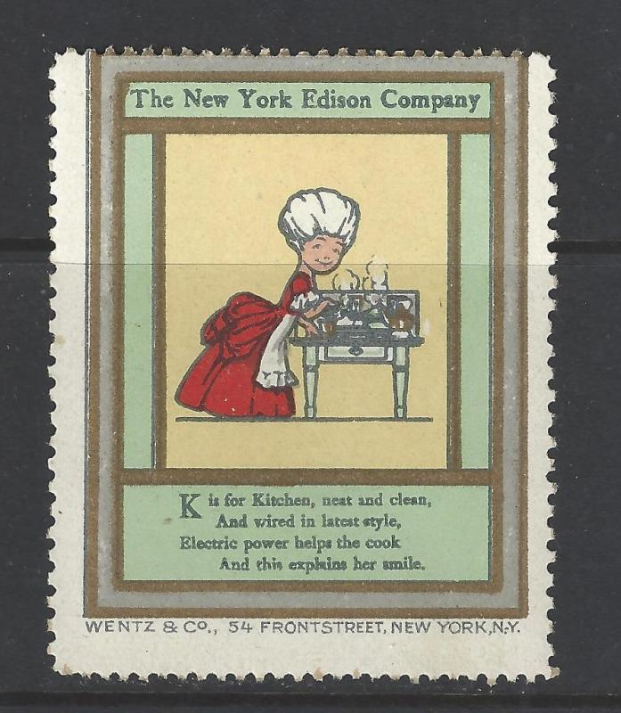 Early 1900s NY Edison Electrical Co Promotional Poster Stamp - Many Diff (AV119)