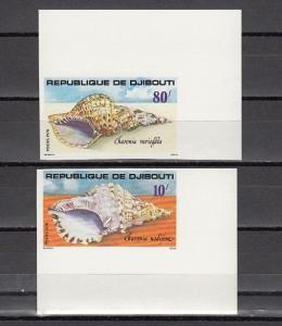 Djibouti, Scott cat. 480-481. Sea Shells, IMPERF issue.